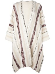 Mes Demoiselles 'Essaouira' Oversized Embellished Cardigan Nude And Neutrals
