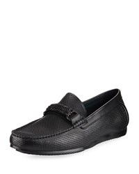 Zanzara Masaccio Perforated Moccasin Black