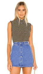 Sanctuary Essential Sleeveless Mock Neck Top In Black. Fall Stripe