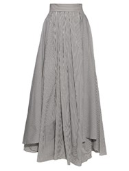 Brunello Cucinelli Cotton Blend Striped Skirt Grey Stripe