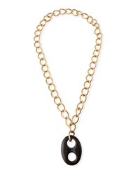 Viktoria Hayman Open Link Tiger Wood Pendant Necklace Brown Gold