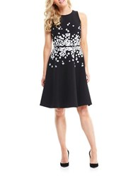 Maggy London Sleeveless Floral Print Fit And Flare Dress Black