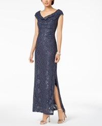 Connected Sequined Lace Cowl Neck Gown Charcoal