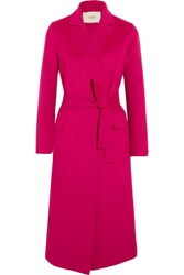 Maje Belted Wool Blend Felt Coat Fuchsia