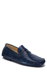 Bugatchi Montalcino Driving Penny Loafer Blue Leather