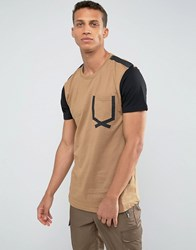 Loyalty And Faith Tape Pocket T Shirt Beige