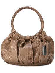 Giorgio Armani Vintage Gathered Effect Tote Bag Nude And Neutrals