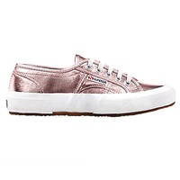 Superga 2750 Flat Lace Up Trainers Rose Gold Cotton