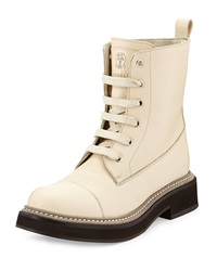 Textured Calfskin Lace Up Boot Wheat Brunello Cucinelli