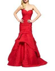 Mac Duggal Layered Strapless Gown Deep Red