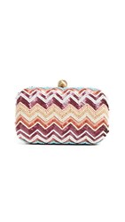Santi Sequin Chevron Clutch Taupe