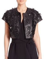 Josie Natori Faux Leather 3D Bolero Jacket Black