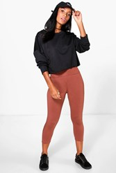 Boohoo Fold Over Waistband Basic 3 4 Leggings Amber