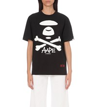 Aape By A Bathing Ape Crossbones Logo Print Cotton Jersey T Shirt Black