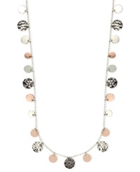 Nine West Necklace Tri Tone Hammered Disc Necklace