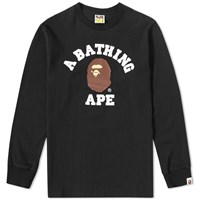 A Bathing Ape Long Sleeve College Tee Black