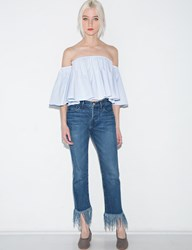 Pixie Market Light Blue Crop Off The Shoulder Top