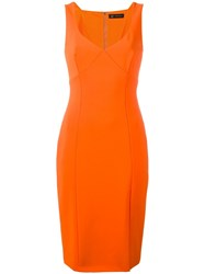 Versace Classic Fitted V Neck Dress Yellow Orange