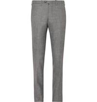 Kiton Grey Slim Fit Micro Puppytooth Cashmere Linen And Silk Blend Suit Trousers Gray