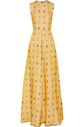 N 21 Printed Silk Organza Gown Yellow
