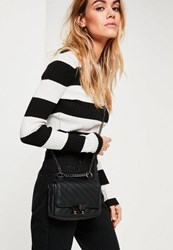 Missguided Black Faux Leather Quilted Cross Body Bag