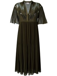Giamba Pleated Dress Green