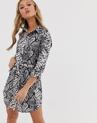 Parisian Shirt Dress In Snake Print Grey