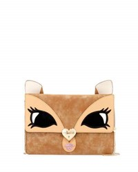 Betsey Johnson Fawn Face Faux Leather Clutch Bag Tan