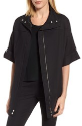 Ming Wang Women's Tie Back Woven Jacket Black