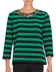 Karl Lagerfeld Embellished Crewneck Long Sleeve Knit Top Green