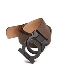 Salvatore Ferragamo Polo Nabuk Interlocking Gancini Suede Belt Taupe Brown