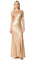 Theia Giselle Bateau Sequin Gown Matte Rose Gold