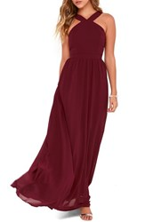 Lulus Women's Cross Neck A Line Chiffon Gown
