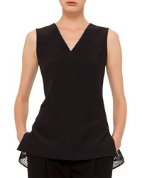 Akris Punto Sleeveless V Neck Top W Mesh Hem Black Size 4