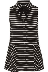 Marissa Webb Cynthia Striped Silk Peplum Top Black