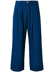 Blue Blue Japan Cropped Trousers Women Linen Flax Rayon S Blue