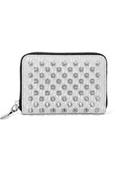 Christian Louboutin Panettone Spiked Glittered Metallic Leather Wallet Silver