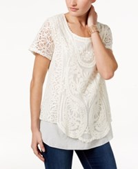 Style And Co Lace Crochet Top Only At Macy's Warm Ivory