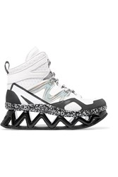 Marc By Marc Jacobs Cutout Mesh And Leather Wedge Sneakers White