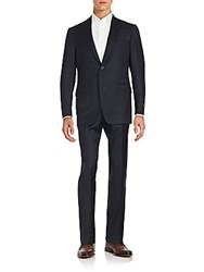 Saks Fifth Avenue Regular Fit Tonal Pinstriped Wool Suit Navy