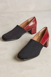 Anthropologie About Arianne Camilla Colorblock Heels Wine