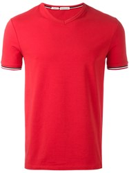 Moncler Classic V Neck T Shirt Red