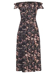 Mother Of Pearl Lydia Floral Print Silk Dress Navy Multi