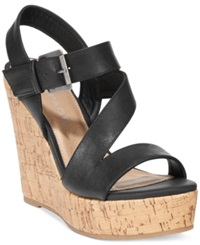 Rampage Helman Platform Wedge Sandals Women's Shoes Black