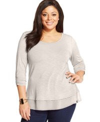 Styleandco. Style And Co. Plus Size Three Quarter Sleeve Chiffon Hem Top Stone Wall