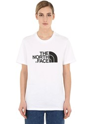 The North Face Logo Printed Cotton Jersey T Shirt White