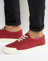 Asos Lace Up Plimsolls In Burgundy Canvas With Rubber Toe Detail Red
