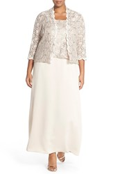 Alex Evenings Plus Size Women's Alex Evening A Line Gown And Lace Jacket Taupe