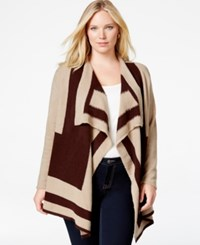 Ny Collection Plus Size Intarsia Knit Drape Front Cardigan Brown Tan