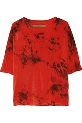 Enza Costa Printed Silk Blend Jersey Top Red
